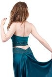 cerulean ruched halter - Poema Tango Clothes: handmade luxury clothing for Argentine tango