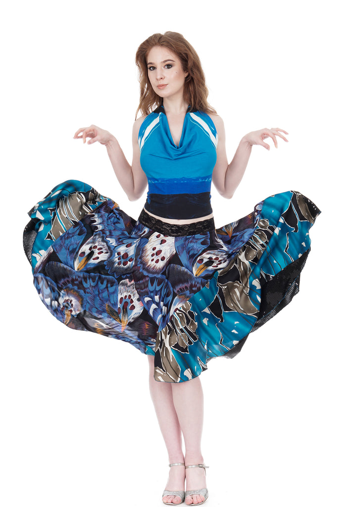 cerulean wing & blue iris circle skirt - Poema Tango Clothes: handmade luxury clothing for Argentine tango