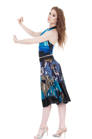 cerulean wing & blue iris circle skirt - CLEARANCE