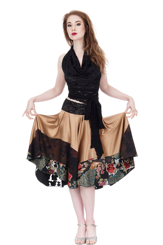 champagne and peacock burnout velvet circle skirt - Poema Tango Clothes: handmade luxury clothing for Argentine tango