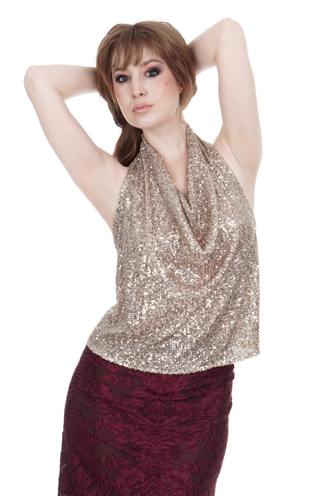 champagne sequins draped halter - Poema Tango Clothes: handmade luxury clothing for Argentine tango
