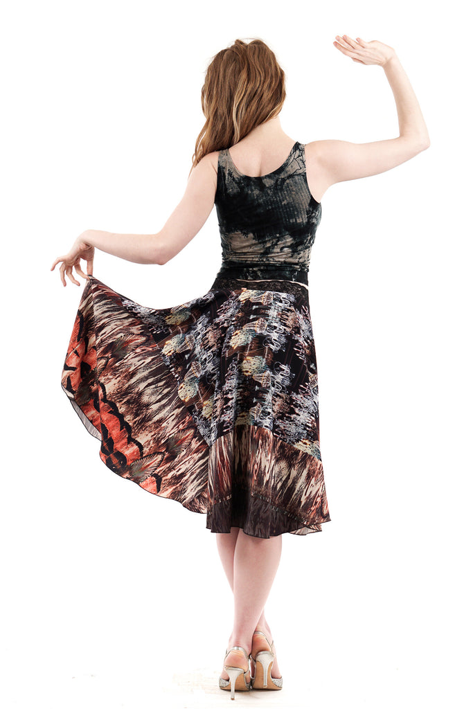 chandeliers and feathers skirt - Poema Tango Clothes: handmade luxury clothing for Argentine tango
