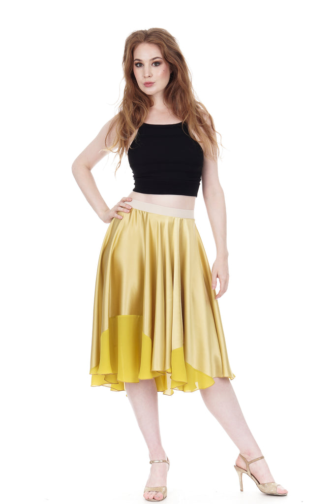 chartreuse-dipped gold silk circle skirt - Poema Tango Clothes: handmade luxury clothing for Argentine tango