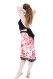 cherry blossoms fluted embellished skirt - Poema Tango Clothes: handmade luxury clothing for Argentine tango