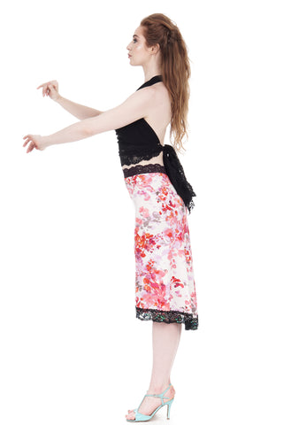 cherry blossoms fluted embellished skirt