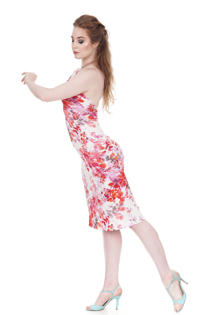 cherry blossoms ruched dress - Poema Tango Clothes: handmade luxury clothing for Argentine tango