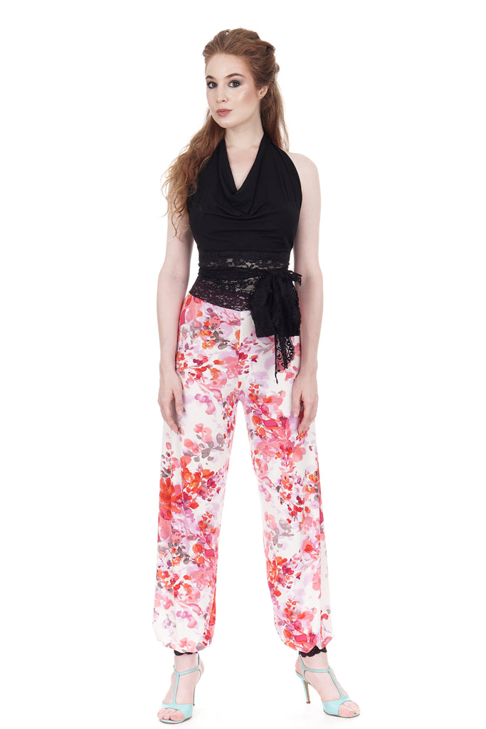 cherry blossoms tango trousers - Poema Tango Clothes: handmade luxury clothing for Argentine tango