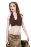 chocolate and blush ruched halter - Poema Tango Clothes: handmade luxury clothing for Argentine tango