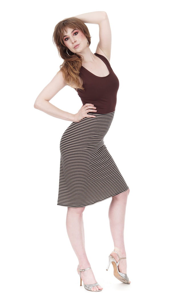 chocolate cherry & whisper stripe dress - Poema Tango Clothes: handmade luxury clothing for Argentine tango