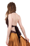 chocolate cherry and gilded lace wrap top - Poema Tango Clothes: handmade luxury clothing for Argentine tango