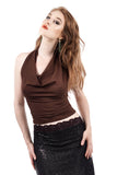 chocolate cherry blossom embellished draped halter - Poema Tango Clothes: handmade luxury clothing for Argentine tango