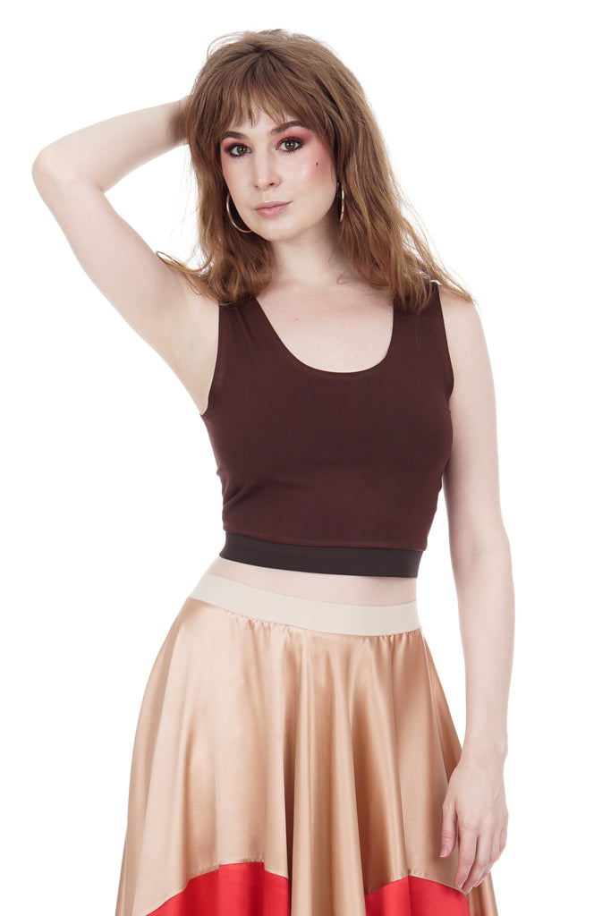 chocolate cherry dance tank - Poema Tango Clothes: handmade luxury clothing for Argentine tango