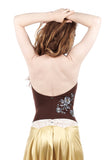 chocolate cherry embellished draped halter - Poema Tango Clothes: handmade luxury clothing for Argentine tango