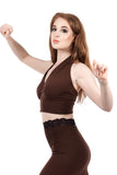 chocolate cherry embellished ruched halter - Poema Tango Clothes: handmade luxury clothing for Argentine tango