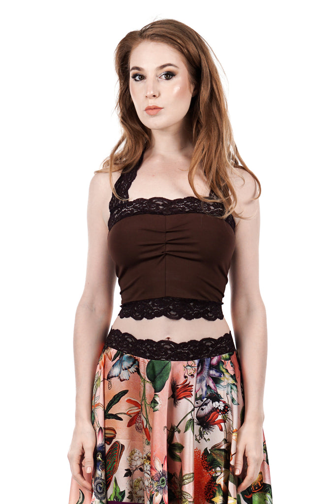chocolate cherry halter bandeau - Poema Tango Clothes: handmade luxury clothing for Argentine tango