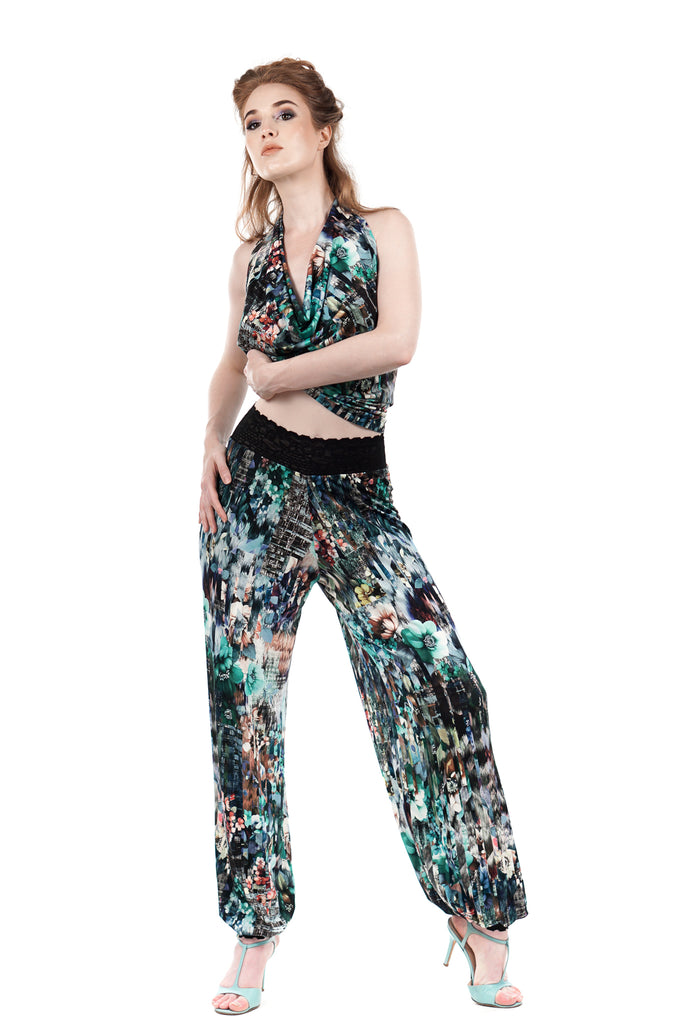 city bloom tango trousers - Poema Tango Clothes: handmade luxury clothing for Argentine tango