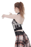 cityscape & lace draped halter - Poema Tango Clothes: handmade luxury clothing for Argentine tango