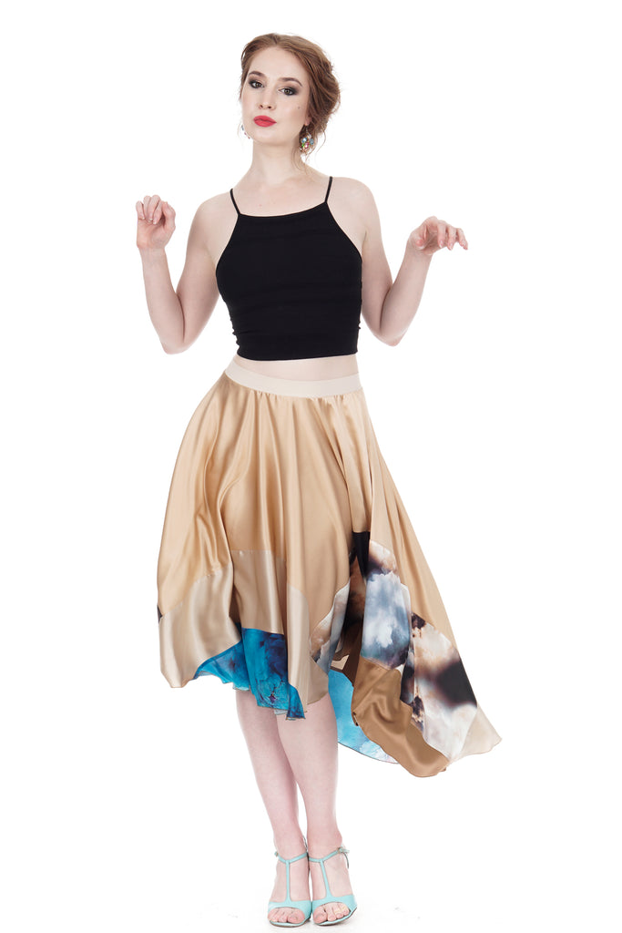 cloud & azure-dipped rose gold silk skirt - Poema Tango Clothes: handmade luxury clothing for Argentine tango