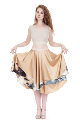 cloud-striped rose gold silk skirt