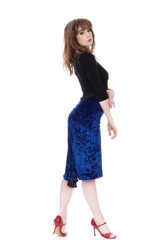 cobalt crushed velvet ruched skirt