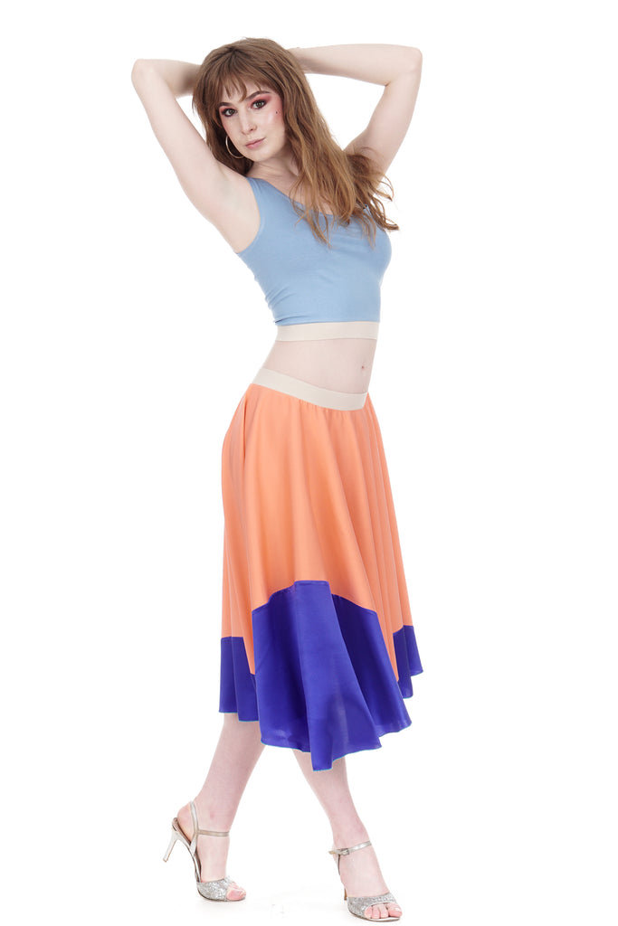 cobalt-dipped luminous coral silk skirt - Poema Tango Clothes: handmade luxury clothing for Argentine tango
