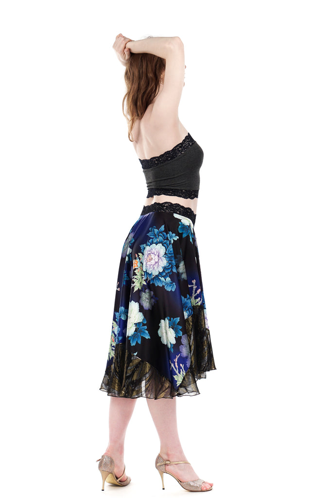 cobalt peony circle skirt - Poema Tango Clothes: handmade luxury clothing for Argentine tango