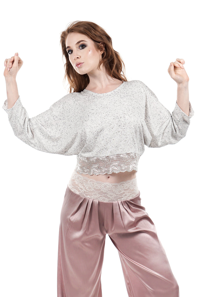 cookies and cream draped sleeved top - Poema Tango Clothes: handmade luxury clothing for Argentine tango