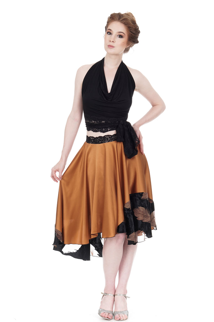 copper & feather silk skirt - Poema Tango Clothes: handmade luxury clothing for Argentine tango