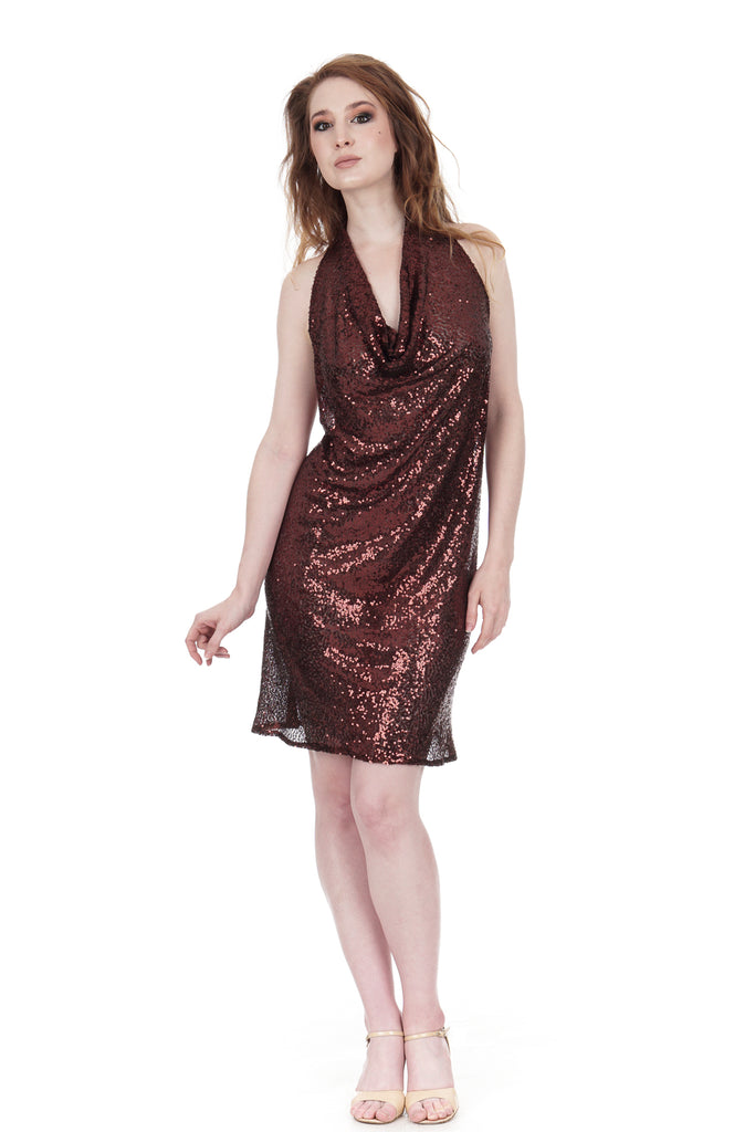 copper sequin layering shift - Poema Tango Clothes: handmade luxury clothing for Argentine tango