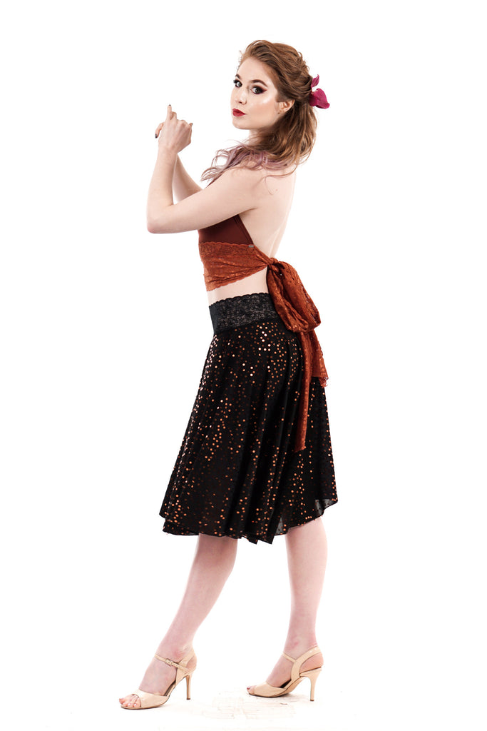 copper sequin skirt - Poema Tango Clothes: handmade luxury clothing for Argentine tango