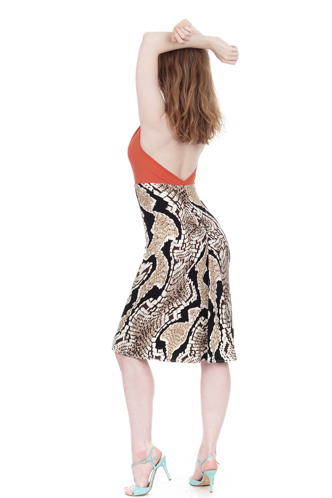 coral & painted python dress - Poema Tango Clothes: handmade luxury clothing for Argentine tango