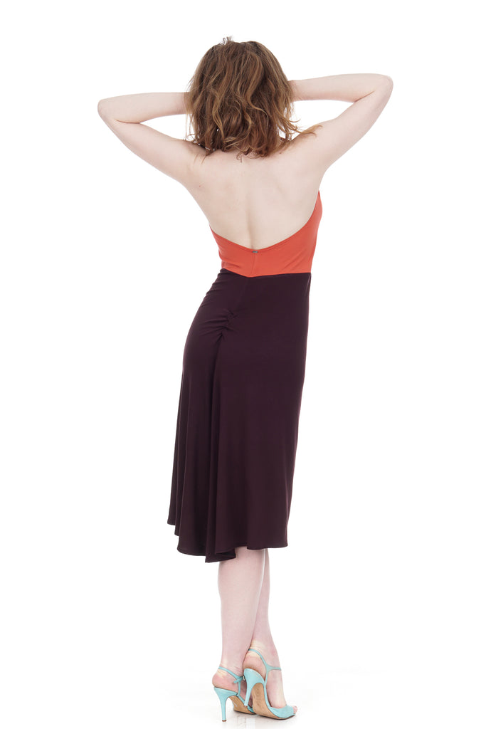 coral and raisin halter dress - Poema Tango Clothes: handmade luxury clothing for Argentine tango