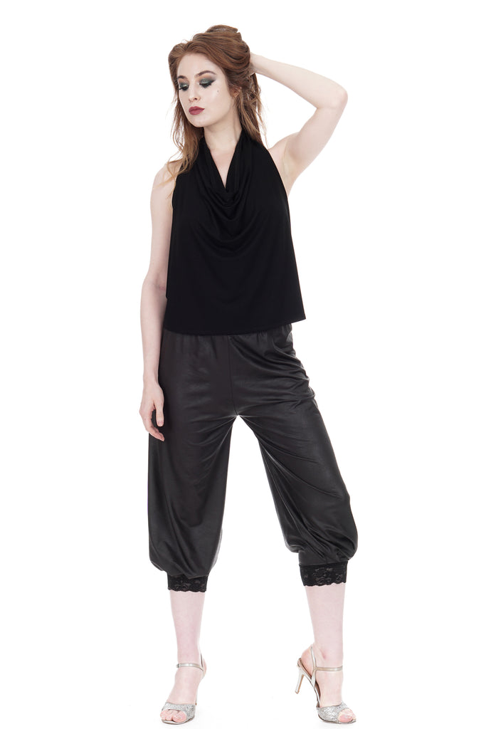 cracked letherette tango pants - Poema Tango Clothes: handmade luxury clothing for Argentine tango