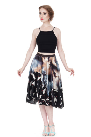 crane-dipped dreamclouds silk skirt