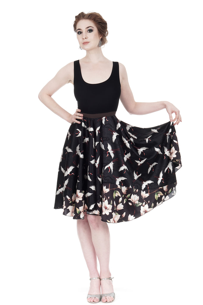 cranes & magnolias dress - Poema Tango Clothes: handmade luxury clothing for Argentine tango