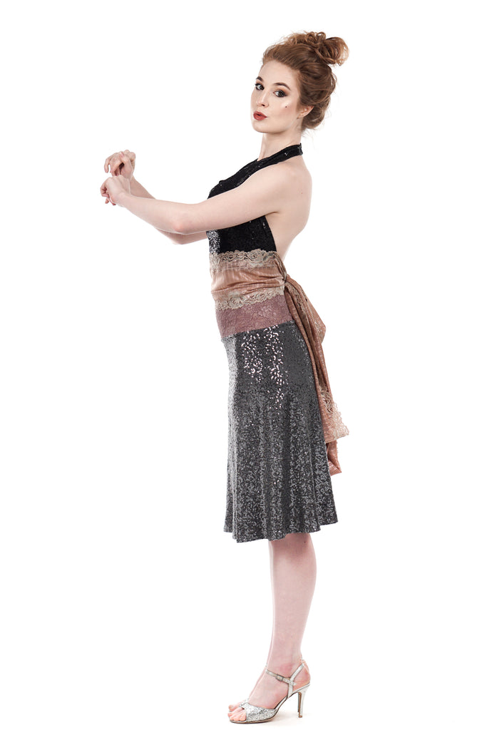 cygnet sequin draped & flared skirt - Poema Tango Clothes: handmade luxury clothing for Argentine tango
