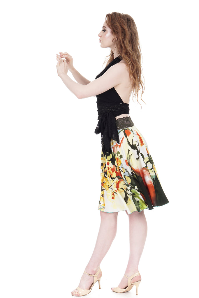 daffodil ink skirt - Poema Tango Clothes: handmade luxury clothing for Argentine tango