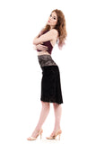 damask and ribbon lace skirt - Poema Tango Clothes: handmade luxury clothing for Argentine tango