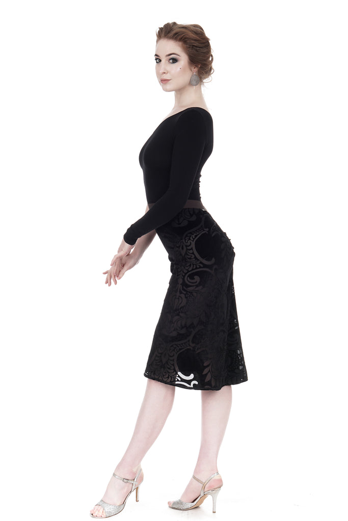 damask burnout ruched skirt - Poema Tango Clothes: handmade luxury clothing for Argentine tango