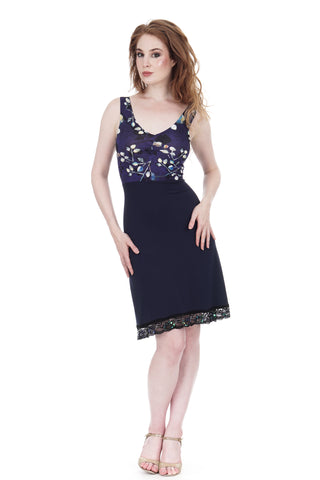dappled dark & blue shadow tank dress