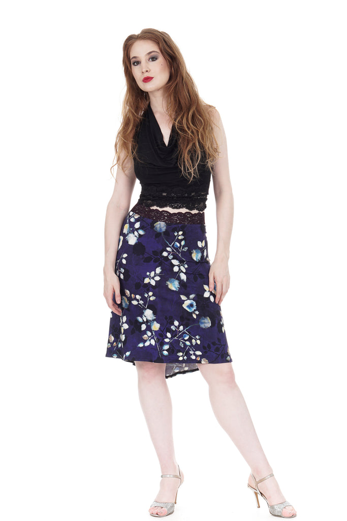 dappled dark fluted skirt - Poema Tango Clothes: handmade luxury clothing for Argentine tango