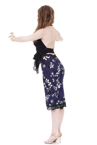 dappled dark ruched skirt