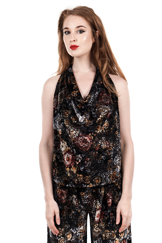 dark dream floral burnout velvet draped halter - Poema Tango Clothes: handmade luxury clothing for Argentine tango