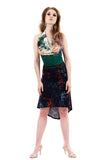 dark foliage fluted skirt - Poema Tango Clothes: handmade luxury clothing for Argentine tango
