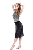 dark grey burnout stripe flared & draped skirt - Poema Tango Clothes: handmade luxury clothing for Argentine tango