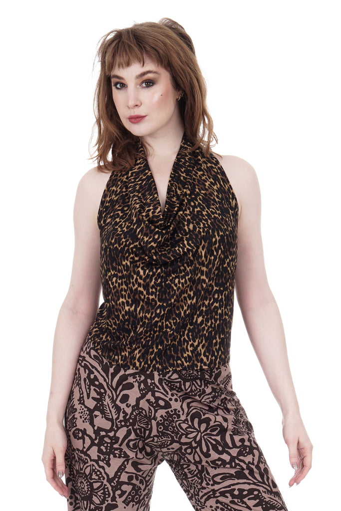 dark leopard draped halter - Poema Tango Clothes: handmade luxury clothing for Argentine tango