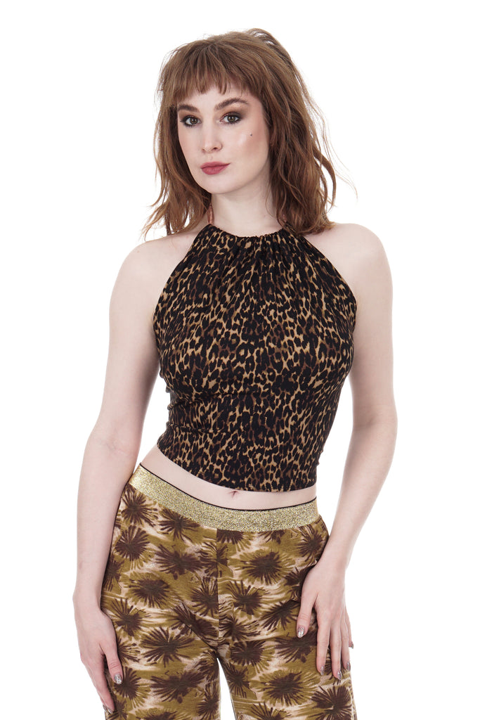 dark leopard high-neck halter - Poema Tango Clothes: handmade luxury clothing for Argentine tango