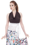 dark wren & eidleweiss wrap halter - Poema Tango Clothes: handmade luxury clothing for Argentine tango