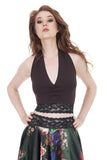 dark wren & forest ruched halter - Poema Tango Clothes: handmade luxury clothing for Argentine tango