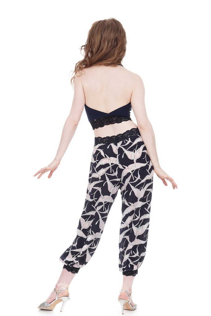 dawn cranes silk georgette tango pants - Poema Tango Clothes: handmade luxury clothing for Argentine tango